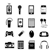 Gadget icons black Stock Illustration