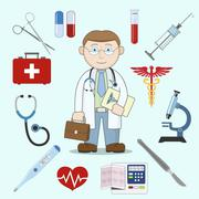 Doctor character with medicine icons - stock illustration