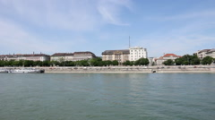 Banks of the Danube in Budapest cityscape Stock Footage