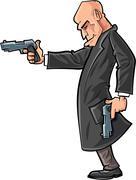 cartoon bald gun man pointing his gun - stock illustration