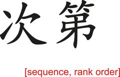 Chinese Sign for sequence, rank order - stock illustration