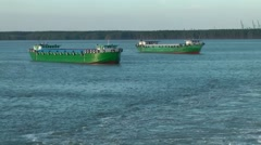Vietnam Phú Mỹ district 033 two transport ships in the bay Stock Footage