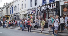 Busy street on a Sunday near Portobello in London 4K Stock Footage