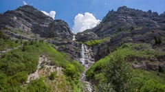 Bridal Veil Waterfall in Wasatch mountains Stock Footage