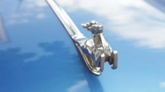 Metal emblem on the hood of the car Stock Footage