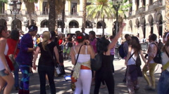 Flash mob. Mobile Clubbing Headphone Party Stock Footage