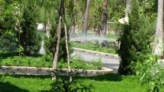 Vietnam Phú Mỹ district villages 014 an asian monk pours plants Stock Footage