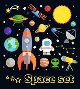 Space elements set - stock illustration