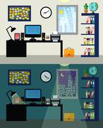 Office day and night Stock Illustration