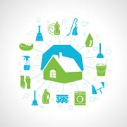 House cleaning concept - stock illustration