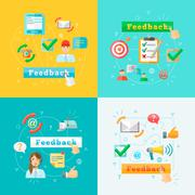 Feedback web infographic elements set Stock Illustration
