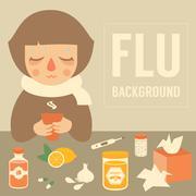 Girl with flu Stock Illustration