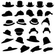 Hats silhouette Stock Illustration