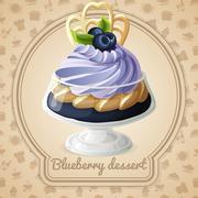 Blueberry dessert badge Stock Illustration