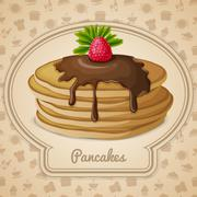Baked pancakes emblem - stock illustration