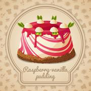 Raspberry vanilla pudding label - stock illustration