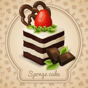 Sponge cake label - stock illustration