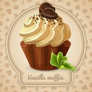 Vanilla muffin label - stock illustration