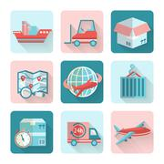Logistic Flat Icons Stock Illustration