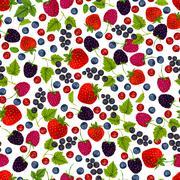 Fresh berries seamless pattern Stock Illustration