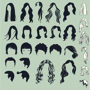 hair silhouette - stock illustration