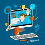 E-learning flat poster - stock illustration