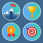 Achievement icons set - stock illustration