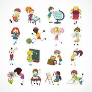 School kids doodle sketch Stock Illustration
