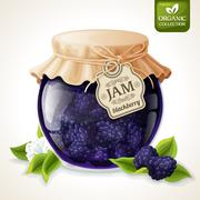 Blackberry jam glass - stock illustration