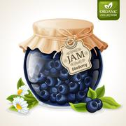 Blueberry jam glass - stock illustration
