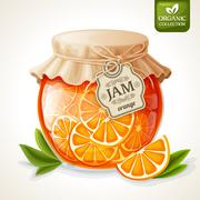 Orange jam jar - stock illustration