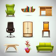 Stock Illustration of Furniture Realistic Icons
