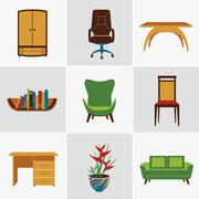 Stock Illustration of Furniture flat icons