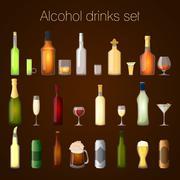 Alcohol drinks set - stock illustration