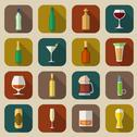 Stock Illustration of Alcohol Icons Flat