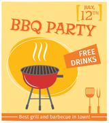 Bbq grill poster - stock illustration