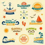 Summer element label set - stock illustration