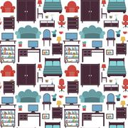 Furniture seamless pattern - stock illustration