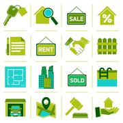 Real Estate Icons Green - stock illustration
