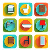 House Interior Furniture Icons Stock Illustration
