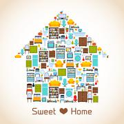 Sweet home concept - stock illustration