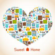 Sweet home heart concept - stock illustration