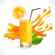 Orange juice splash - stock illustration