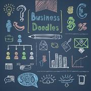 Doodle business set - stock illustration