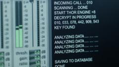 Espionage facility code close up Stock Footage