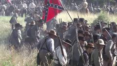 Battle of Gettysburg 150th Anniversary -Rebels move behind front lines Stock Footage