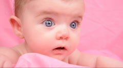 Happy Little Baby on Pink Blanket Stock Footage