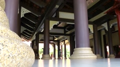 Vietnam Phú Mỹ district villages 013 temple colonnade with giant pillars Stock Footage