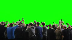 Paparazzi crowd fighting to get the best picture on green screen background Stock Footage