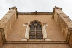 Elegant stained glass window in the building  attached  to san isidoro church Stock Photos
